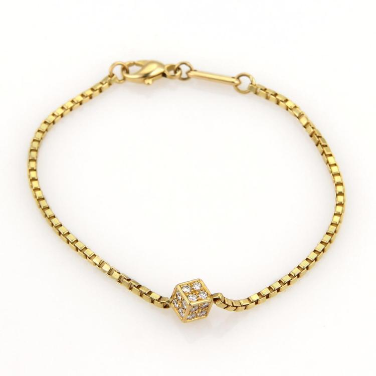Chopard Diamonds Cube Charm 18k Yellow Gold Box Chain Bracelet