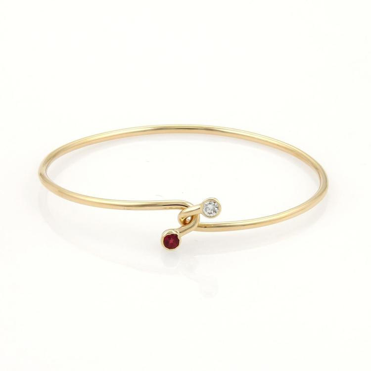 Tiffany & Co. Diamond & Ruby 18k Yellow Gold Hook Bangle Bracelet