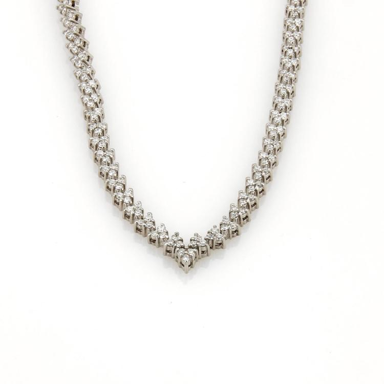 Estate 7.5ct Diamonds 14k White Gold Fancy Leaf Link