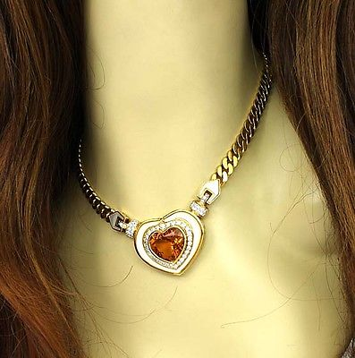 Estate Vintage 18k Y/Gold 16.75 Diamond Citrine & Mother Of Pearl Heart Necklace