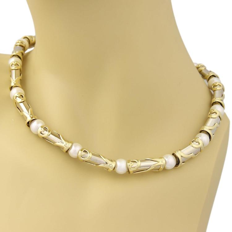 Estate Pearls 18k Two Tone Fancy Long Curve Link Necklace 132 Grams