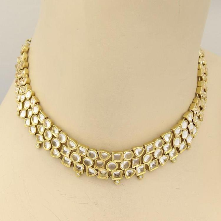 H. Stern 18k Yellow Gold White Quartz & Diamonds Geometric Choker Necklace