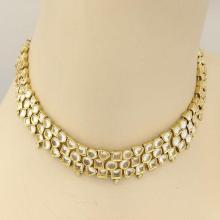 H. Stern 18k Yellow Gold White Quartz & Diamonds Geometric Choker Necklace