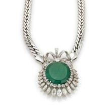 Estate 18ct Emerald & Diamond Floral Wreath Pendant & Curb Chain in 18k Gold