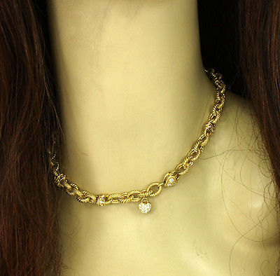18k Yellow Gold & .90ctw Diamond Ladies Fancy Chain Link Necklace.