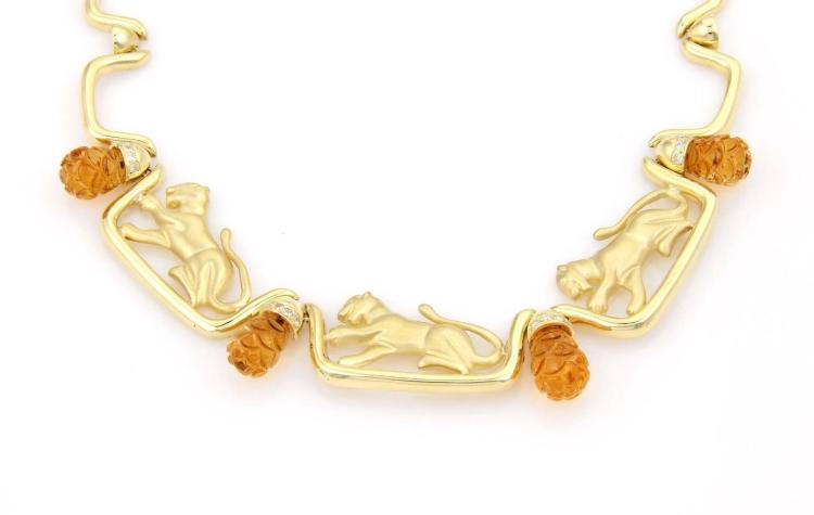 Estate 18kt Yellow Gold Diamond & Citrine Leopard Necklace