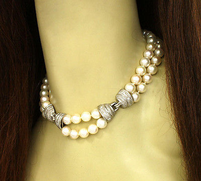 Judith Ripka 18k W/Gold Diamond & Saltwater Pearls Double Strand Choker Necklace