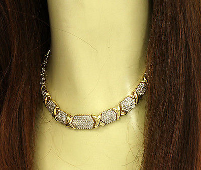 Magnificent 14k Yellow Gold 10ctw Light Champagne Diamonds X Design Necklace
