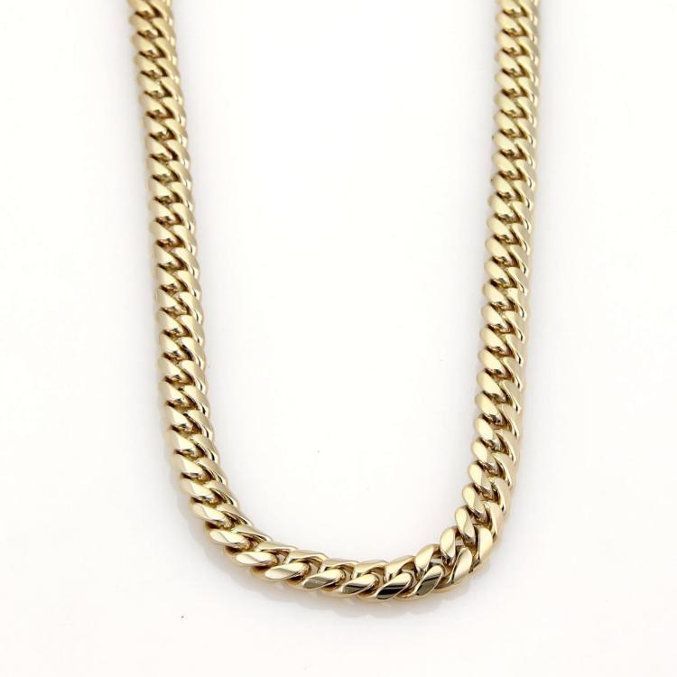 Mens 14k Yellow Solid Gold 7mm Wide Curb Link Chain Necklace 31