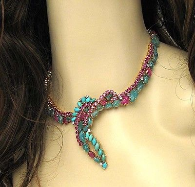Handmade 18k Yellow Gold 121ctw Diamond, Ruby,Turquoise & Emerald Drop Necklace