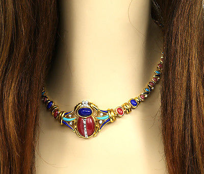 LAVISH 2-TONE 18K GOLD, DIAMONDS & MIXED GEMS LADIES EGYPTIAN MOTIF NECKLACE