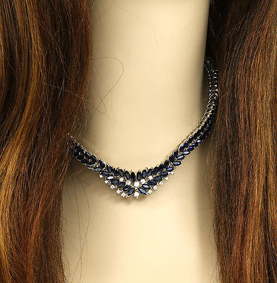 BREATHTAKING 18K WHITE GOLD, 1 CT DIAMONDS & 47 CARATS SAPPHIRES DRESS NECKLACE