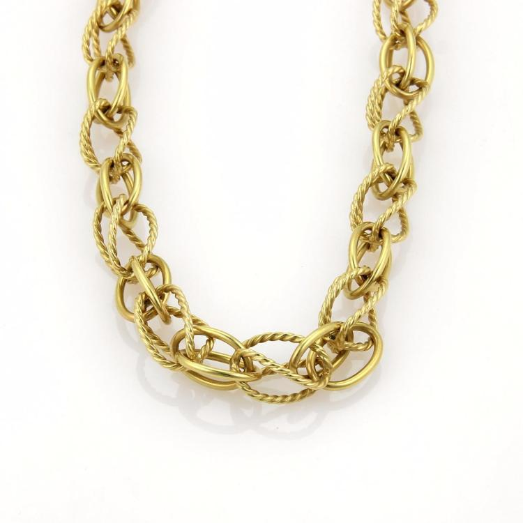 David Yurman 18k Yellow Gold Wire Design Loop Link Chain Necklace