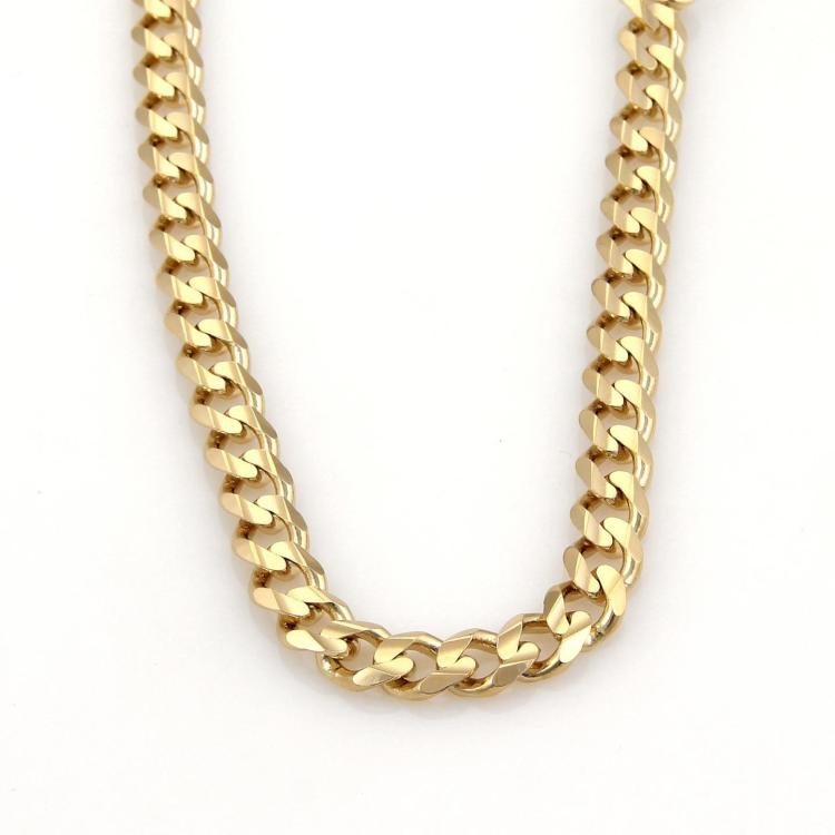 14k Yellow Gold Heavy Curb Link Chain Necklace 30