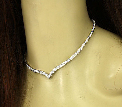 Magnificent 14k White Gold 5.25ctw Diamond Ladies Tennis Necklace