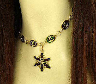 Art Nouveau Plique A Jour Multi-Color Enamel Star Drop Necklace in 18k YGold