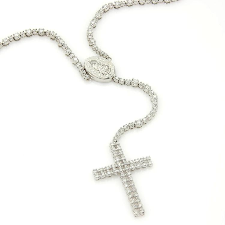 10kt White Gold 12.5ctw Diamond Mother Mary & Cross Pendant Long Necklace