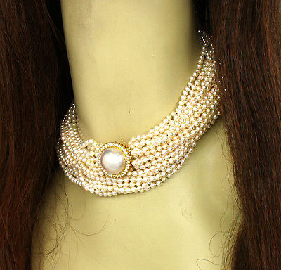 Breathtaking 14k Y/Gold 1ctw Diamond Multi-Strand Salt Water Pearl Necklace