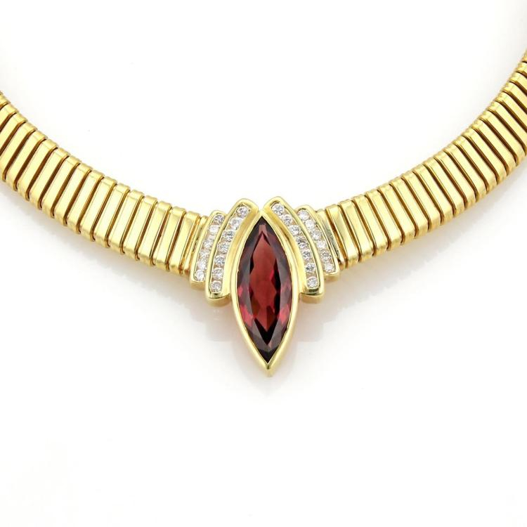 Estate 7ct Rubellite Tourmaline Diamonds 18k Yellow Gold Omega Collar Necklace