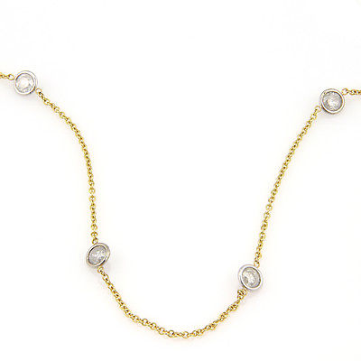 NEW 14K Yellow & White Gold 4.48ct Diamonds By The Yard Necklace