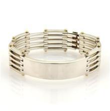 Tiffany & Co. Sterling Silver 18k Yellow Gold ID Bar Gate Link Bracelet
