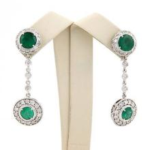 Estate 14K White Gold Emerald & Diamond Dangle Drop Earrings