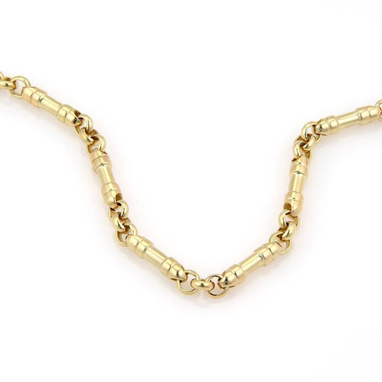 Gold Italy Platinum: Tiffany & Co. Italy 18K Yellow Gold Cylindrical Chain Link N