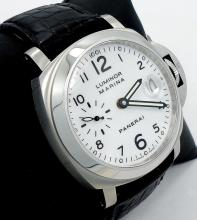 PANERAI LUMINOR MARINA PAM49 WHITE DIAL 40mm ON LEATHER STRAP WATCH