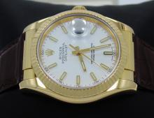 Rolex Datejust 116138 18K Yellow Gold Leather Strap Men's Watch *MINT CONDITION*