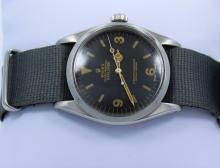 Rolex Explorer I 6610 Vintage Rare 2 Million Steel Black Tropical Dial Watch
