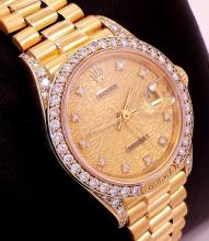 ROLEX LADIES PRESIDENT CRWON COLLECTION 18K Y GOLD FACT DIAMONDS JUBILEE 69158