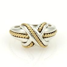 Tiffany & Co. X Crossover 18k Yellow Gold & Sterling Silver Ring Size 6