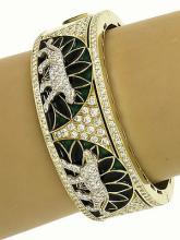 Magnificent Two Tone Gold 5.5ctw Diamond & Enamel Panther Design Wide Bracelet