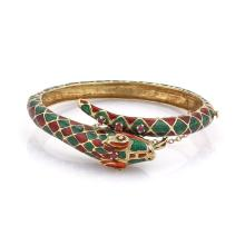 Vintage 14k Yellow Gold Ruby & Enamel Bypass Design Snake Bracelet Bangle