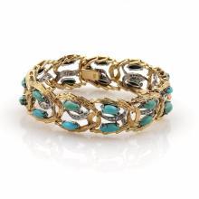 Vintage Diamonds & Turquoise 18k Two Tone Gold Open Fancy Bracelet