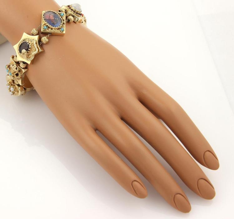 Vintage 14k Gold Charm Bracelet: Vintage Multi-Color Gemstone 14k Gold Slide Charm Bracelet