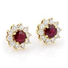 Estate 18kt Yellow Gold 3.50ct Round Cut Ruby & Diamond Sunburst Stud Earrings