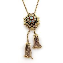 Vintage 1.2ct Fire Opal 14k Yellow Gold Slide Tassel Lariat Pendant Necklace 29