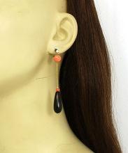 Estate Diamonds Fire Coral & Onyx 16k Yellow Gold Long Drop Dangle Earrings