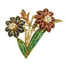 Breathtaking 18k Yellow Gold 34.88ctw Diamonds & Gemstone Flower Spring Brooch