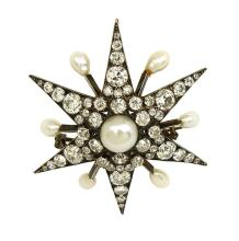 STUNNING ANTIQUE 14K GOLD, 7.5 CTS OLD MINE DIAMONDS& PEARLS STAR PIN/BROOCH PENDANT
