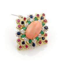 Estate 12.20ct Diamonds & Multi-Color Gemstone 18k Gold Floral Pendant Pin