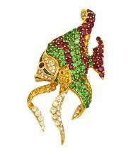 Estate 18k Yellow Gold 22.02ctw Diamonds & Gemstones 3D Angel Fish Pin/Brooch