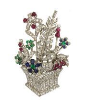 Estate Platinum 5.71ctw Diamonds Emerald Rubies & Sapphire Flower Basket Brooch