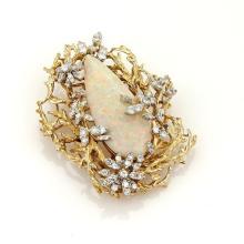 Vintage 38ct Large Pear Cut Fire Opal & Diamonds 14k Gold Floral Pendant Pin