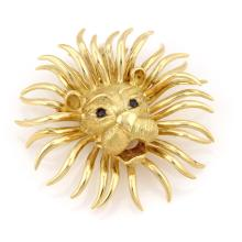 Magnificent 18K Yellow Gold Large Lion Head w/ Sapphire Pin / Brooch Pendant