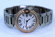 Cartier Ballon Bleu 28mm WE902079 Fact 18K Rose Gold Diamond Bezel Auto *MINT*