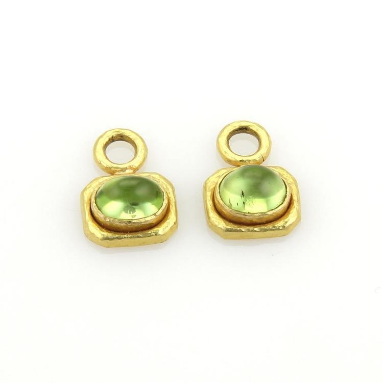 Elizabeth Locke 3 5ct Peridot Earring Charms In 18k Yellow G