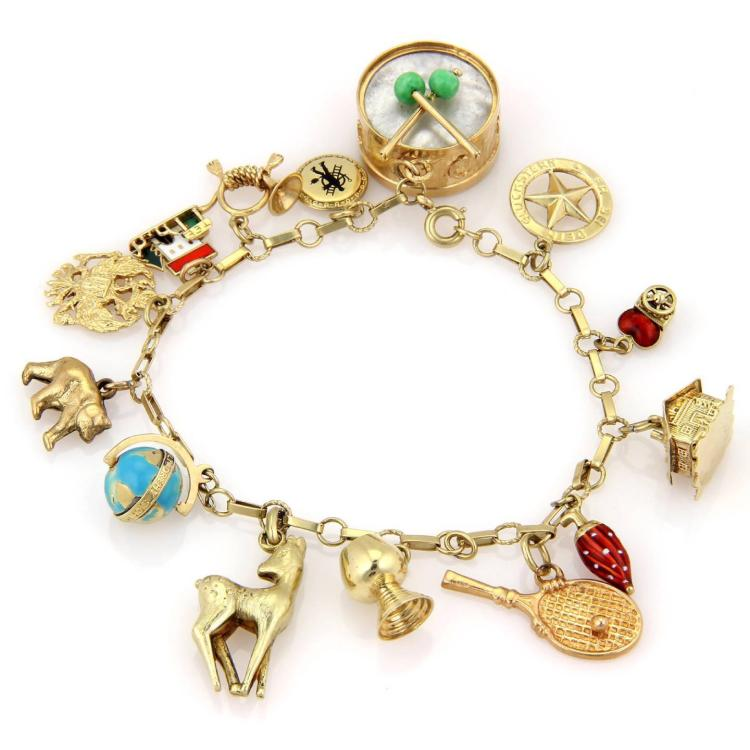 Enamel Charms For Bracelets: Vintage 14kt Yellow Gold Enamel Fourteen Charm Bracelet