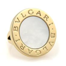 Bulgari Bvlgari Mother of Pearl 18k Yellow Gold Large Round Top Ring Size 5